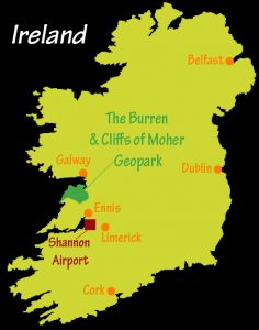 Map of Ireland with Geopark location