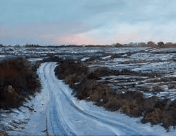 Snow covered road in the Burren, Clare