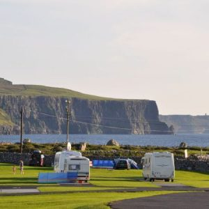 Cliffs of Moher View from Nagles Caravan and Camping site, Doolin, family holiday