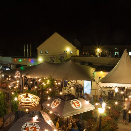 Courtyard at Hotel Doolin by night, outdoor space